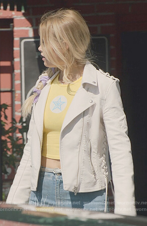 Karolina's white leather moto jacket with lace-up sides on Marvel's Runaways