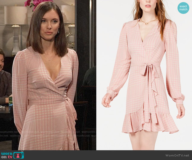 Leyden Ruffled Wrap Dress in Blush Houndstooth worn by Willow Tait (Katelyn MacMullen) on General Hospital