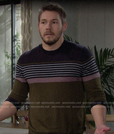 Liam's striped sweater on The Bold and the Beautiful