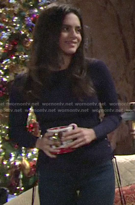 Lola's navy sweater with lace-up sides on The Young and the Restless