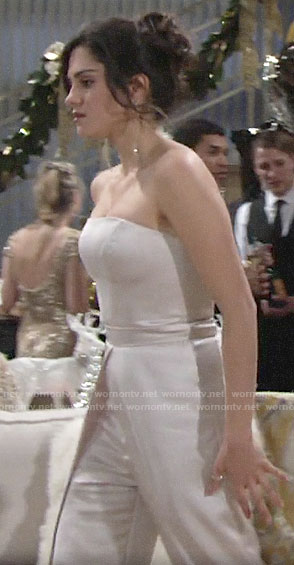 Lola's strapless NYE jumpsuit on The Young and the Restless