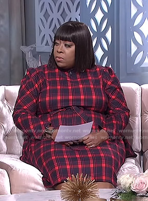 Loni's red plaid dress on The Real