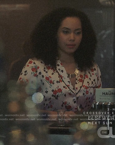 Macy's white floral shirtdress on Charmed