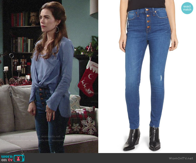 Madewell 10-Inch High Rise Skinny Jeans in Hanna worn by Victoria Newman (Amelia Heinle) on The Young & the Restless