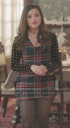 Maggie's plaid romper and studded top on Charmed
