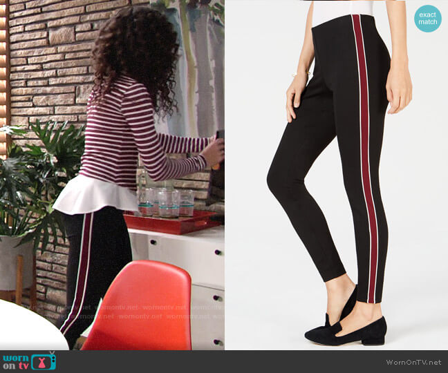 Maison Jules Pull-On Striped Skinny Pants worn by Mattie Ashby (Lexie Stevenson) on The Young & the Restless