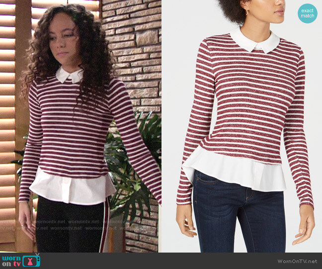 Maison Jules Striped Layered-Look Top worn by Mattie Ashby (Lexie Stevenson) on The Young & the Restless