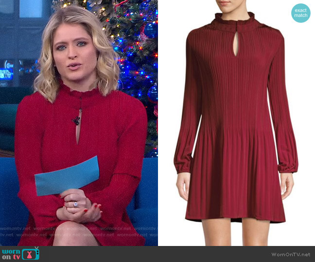 Pleated Mini Dress by Maje worn by Sara Haines  on Good Morning America