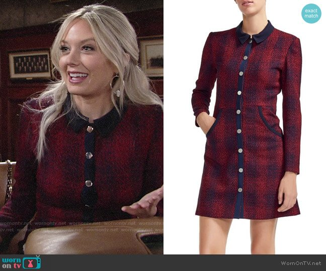 Maje Renitia Tweed Shirtdress worn by Abby Newman (Melissa Ordway) on The Young & the Restless
