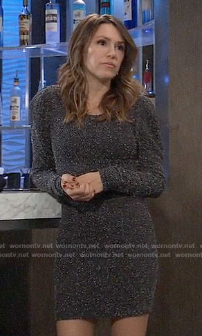 Margaux's metallic long sleeved dress on General Hospital