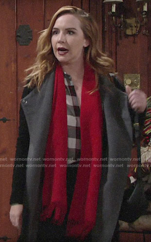 Mariah's black and grey coat on The Young and the Restless