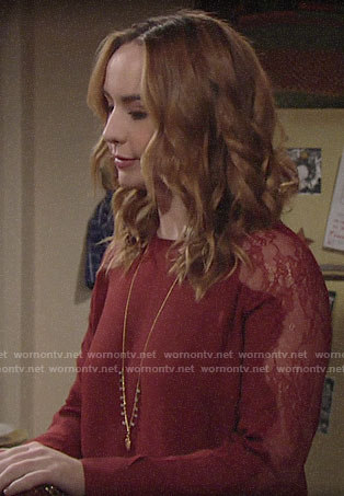 Mariah's red lace sleeve blouse on The Young and the Restless