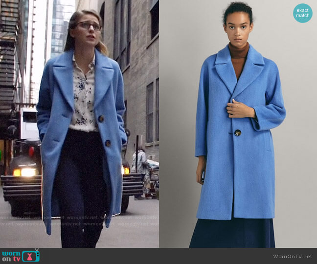 Massimo Dutti Wool Coat with Textured Weave worn by Kara Danvers (Melissa Benoist) on Arrow