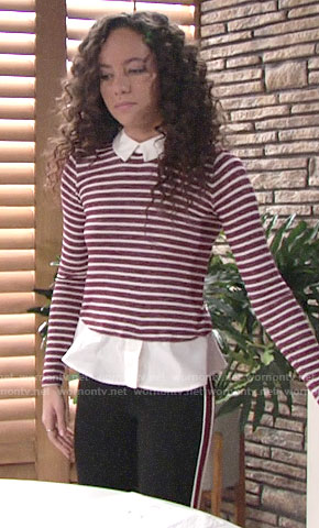 Mattie's red striped layered top on The Young and the Restless