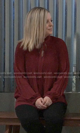 Maxie's red tie neck blouse on General Hospital