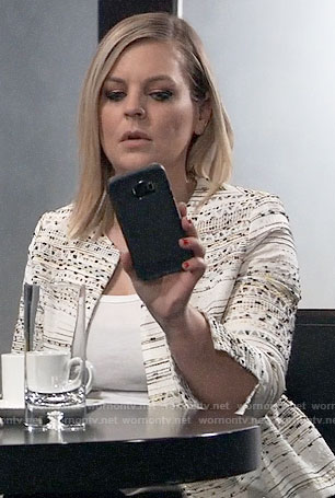Maxie's textured peplum jacket on General Hospital