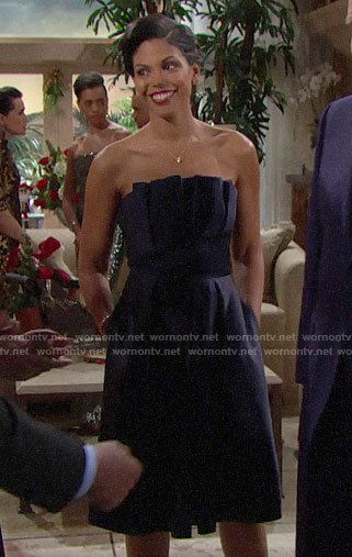Maya's navy blue strapless dress on The Bold and the Beautiful