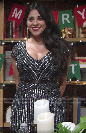 Mia's sequin NYE dress on The Young and the Restless