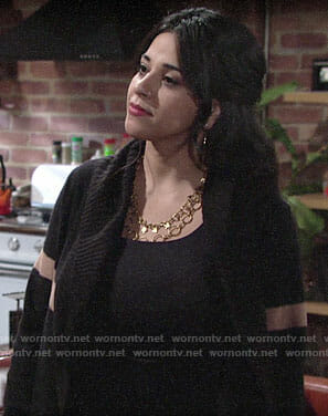 Mia's black striped cardigan on The Young and the Restless