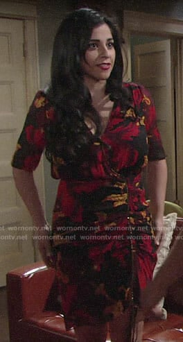Mia's floral ruched dress on The Young and the Restless