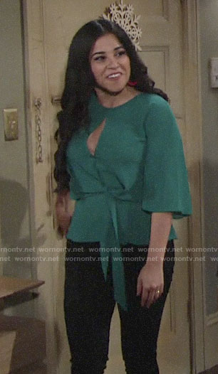 Mia's green keyhole top with tie on The Young and the Restless