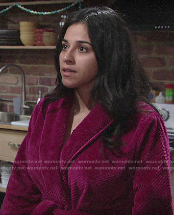 Mia's pink robe on The Young and the Restless