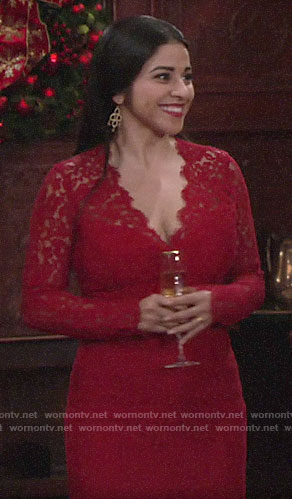 Mia's red lace v-neck dress on The Young and the Restless