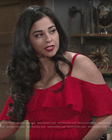 Mia's red ruffled cold-shoulder top on The Young and the Restless