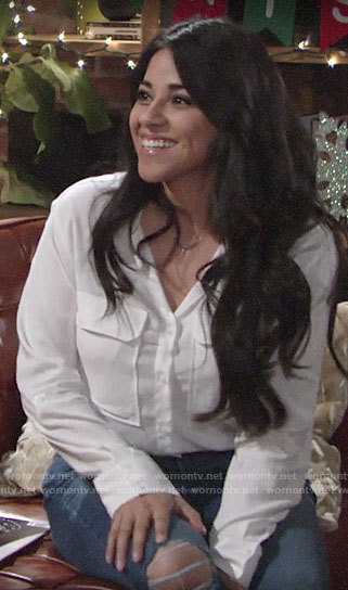 Mia's white button down on The Young and the Restless