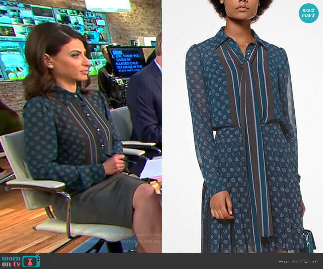 Foulard-Print Tie-Neck Blouse by Michael Michael Kors worn by Bianna Golodryga  on CBS This Morning
