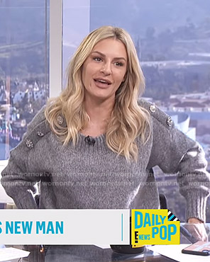 Morgan's grey sweater with jeweled buttons on E! News Daily Pop