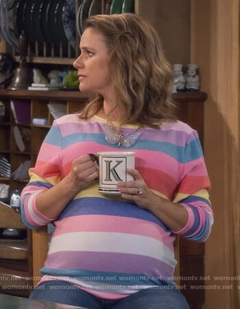 Kimmy's multicolored striped sweatshirt on Fuller House