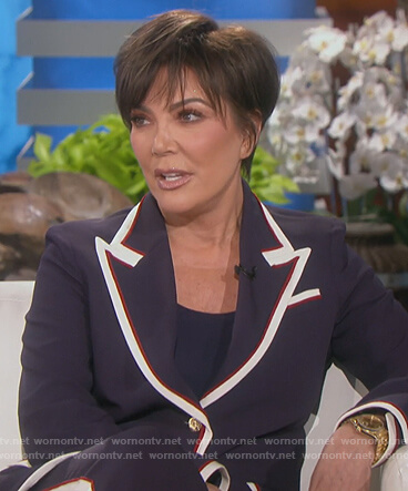 Kris's navy contrast blazer and pants on Keeping Up with the Kardashians