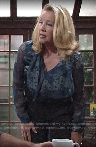 Nikki's blue floral tie-neck blouse on The Young and the Restless