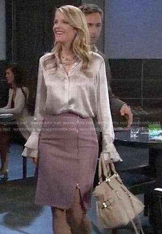 Nina's pink zip front pencil skirt and ruffle cuff blouse on General Hospital