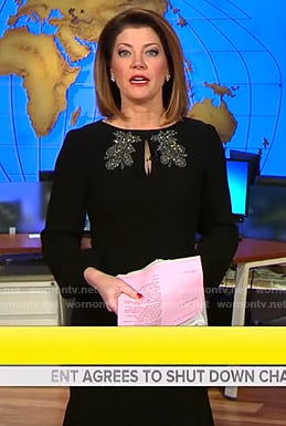 Norah's black embellished keyhole dress on CBS This Morning