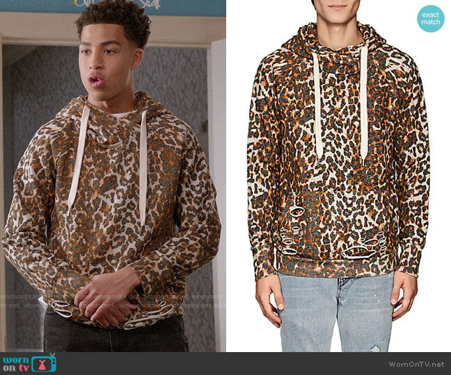 NSF Distressed Leopard-Print Cotton Hoodie worn by Andre Johnson Jr (Marcus Scribner) on Blackish