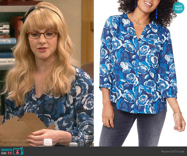 Pleat Back Blouse by NYDJ worn by Bernadette Rostenkowski (Melissa Rauch) on The Big Bang Theory