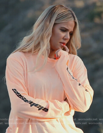 Khloe's orange Calabasas sweatshirt on Keeping Up with the Kardashians