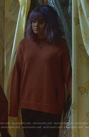 Gert's orange distressed sweater on Marvel's Runaways