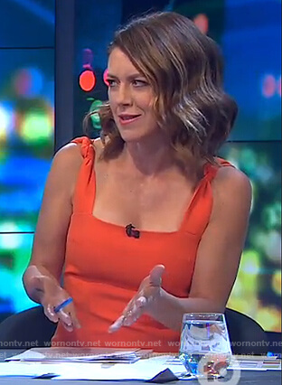 Gorgi's orange twist strap sleeveless dress on The Project