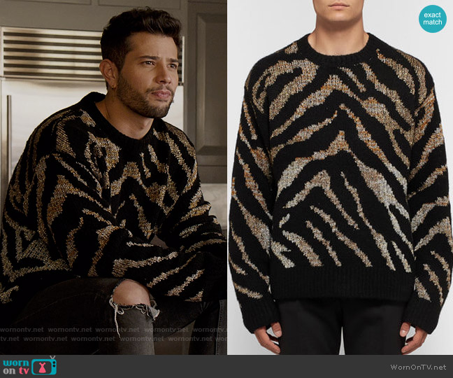 Oversized Intarsia-Knit Sweater by Dries Van Noten worn by Sam Flores (Rafael de la Fuente) on Dynasty