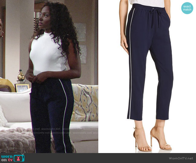 Parker Cassius Piped Jogger Pants worn by Loren Lott on The Young & the Restless