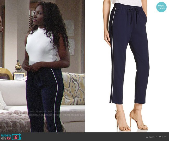 Parker Cassius Piped Jogger Pants worn by Ana Hamilton (Loren Lott) on The Young & the Restless