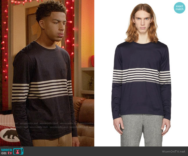 Paul Smith Navy Long Sleeve Chest Stripe T-Shirt worn by Andre Johnson Jr (Marcus Scribner) on Blackish