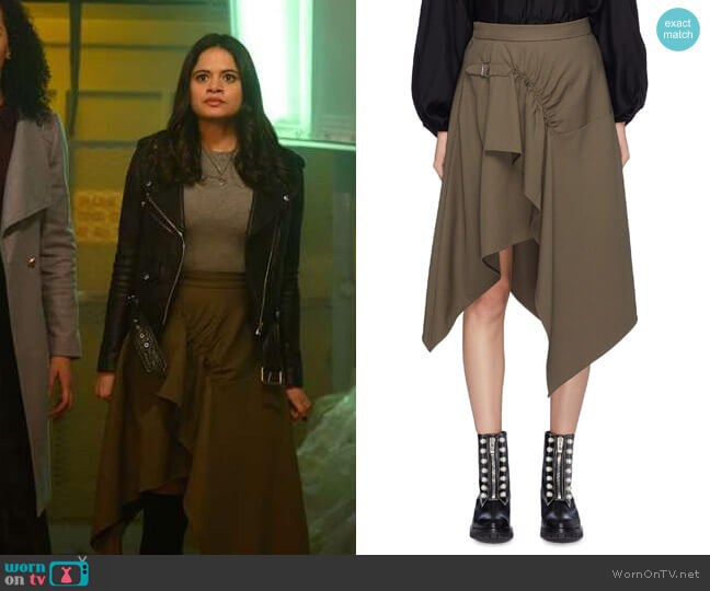 3.1 Phillip Lim Buckled Ruched Skirt worn by Melonie Diaz on Charmed