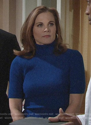 Phyllis's blue ribbed turtleneck top on The Young and the Restless