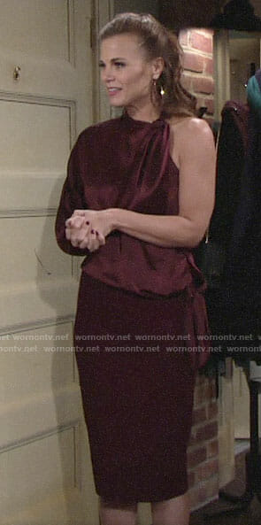 Phyllis's burgundy one-sleeve blouse on The Young and the Restless