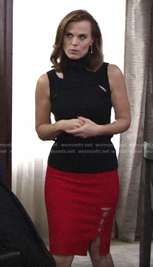 Phyllis's red lace-up skirt and black cutout turtleneck top on The Young and the Resltess
