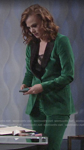 Phyllis's green velvet suit on The Young and the Restless